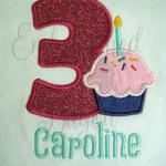 Birthday number with cupcake applique